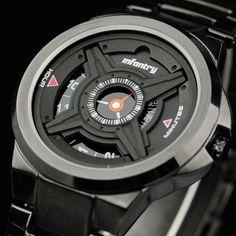 Mens INFANTRY Army Military Quartz Analog Wrist Watch Black Stainless Steel Gift #INFANTRY #Sport