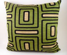 Green pillow  decorative pillow  retro pillow cover  by chezlele, $25.00