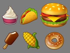 Township icons by Playrix on Dribbble Game Ui Design, Prop Design, Chibi Food, 2d Game Art, Food Graphic Design, Game Props, Game Icon, Game Gui, Food Icons