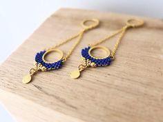 Round earrings miyuki stitchedgold over brass