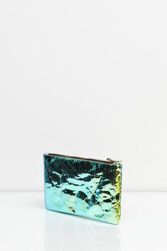 ZILLA, GLOSSY FOIL PURSE: like a little beetle pouch.