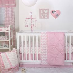 Pink Pintuck and Chevron Zig Zag 4 Piece Crib Bedding by The Peanut Shell