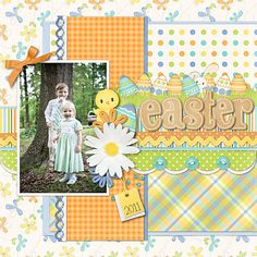 Easter 2011 - Scrapbook.com'''I love all the different papers used on this layout.