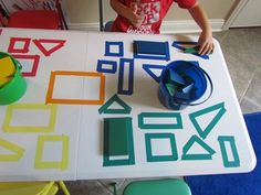 Five fun ways to teach with tape--this is an easy way to get kids thinking about the concepts of shape, color, geometry, matching, patterns and full of potential for introducing new words during play. Preschool Projects, Math Classroom, Kindergarten Activities, Fun Math, Classroom Activities, Teaching Math, Preschool Activities, Maths, Indoor Activities For Toddlers