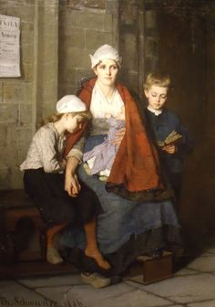 mother with her children in church