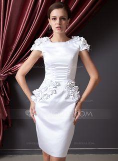 Sheath/Column Scoop Neck Knee-Length Satin Cocktail Dress With Flower(s) (016014226)