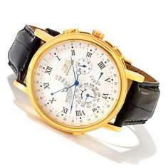 Invicta Mens Minute Repeater Perpetual Calendar Quartz Alligator Strap Watch w/ Collectors Box