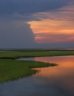 paines creek marsh, looks like sunrise, best time of the day