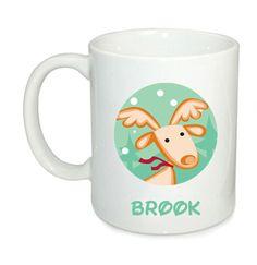 personalised Christmas mug, Childs Christmas mug, Personalized mug for kids, reindeer mug, by cjcprint on Etsy