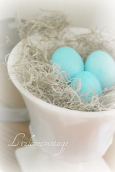 bright, colorful contrast of Robins Egg Blue against white milk glass!