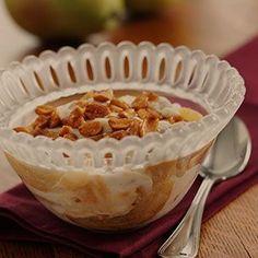 Sautéed Pears With Vanilla Yogurt and Honey Peanuts Pear Recipes Breakfast, Brunch Recipes, Snack Recipes, Snacks, Breakfast Ideas, Fruit Dishes, Gluten Free Breakfasts, Pears, Food Lists