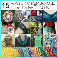 Are you looking for ways to use those t-shirts that you've been holding on to but can't wear anymore? Here are 15 Ways to Repurpose or Restyle old t-shirts! There are so many possibilities when it comes to repurposing t-shirts! Hopefully you'll find some inspiration as you browse through the ideas below. LOVE this colorful t-shirt wreath! Directions @ Blair's Blessings I just thought this was gorgeous! Make a t-shirt flower dress- directions @ Stars for Streetlights Make t-shirt pom poms…