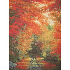 "Autumn In New England Counted Cross Stitch Kit-16""X12"" 16 Count"