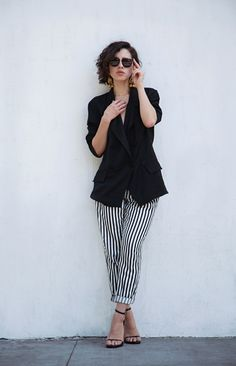 Zara trousers with a vintage silk jacket, earrings from the antique mall, Super sunglasses, and Saint Laurent sandals