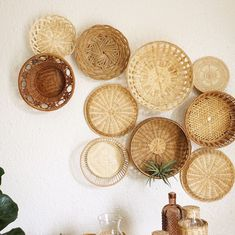 Latest wall basket collage, now listed. Custom wall basket sets are also available … - Basket Decoration and Crates Ideas Diy Wall Decor, Boho Decor, Diy Home Decor, Wall Decorations, Deco Boheme, Diy Décoration, Basket Decoration, Baskets On Wall, Decorative Wall Baskets