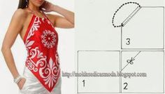 Free sewing pattern - handkerchief scarf halter top blouse. Summer shirt