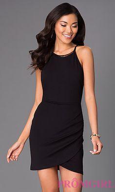 Short Scoop Neck Sleeveless Black Dress 1661 by Emerald Sundae at PromGirl.com