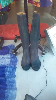 Blue suede boots!