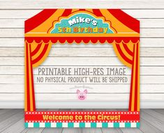 Circus Photo Booth Frame Printable Carnival Photo by HappyBarn