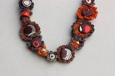 Statement ethnic necklace tribal jewelry crochet от rRradionica