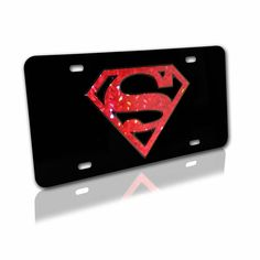 Superman (Color Reflective) on Black License Plate Novelty License Plates, Black Acrylics, License Plate Frames, White Letters, Brushed Metal, Superman, Chrome, Black And White, Color