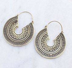 Brass Earrings Hoop Boho Earrings Tribal Earrings by jewellryhubs