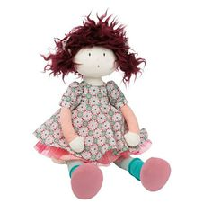 Moulin Roty Rag Doll Jeanne - Soft dolls suitable from 12 months! French Baby, French Fabric, Velvet Shoes, Gift Wrapping Services, Third Baby, Wild Hair, Linen Bag, Pink Tulle, Jeanne