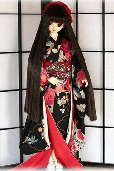 Traditional Japanese Kimono Dress  on doll.