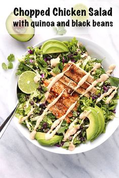 Chopped Chicken Salad with Quinoa and Black Beans #choppedsalad #chicken #quinoa #blackbeans #kale #romaine #cabbage #bestsalads #avocado