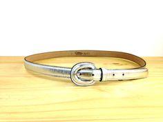 Vintage Silver Metallic Belt / High Waist Belt / by VintageEdition