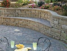 Retaining wall with bench.....yes!