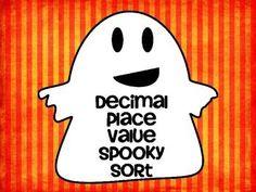 FREE Decimal Place Value Spooky Sort! Halloween Math Fun!