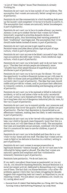 The fact that we have to justify feminism with reasons how it will benefit men is disgusting.