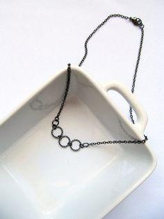 Gunmetal Hoop Dainty Minimalist Single Strand Layering Necklace by KatyaValera