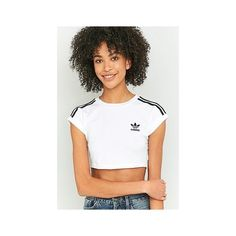 adidas Originals 3 Stripe White Crop Top (€29) ❤ liked on Polyvore featuring tops, short sleeve knit tops, stripe top, cut-out crop tops, white short sleeve top and stripe crop top