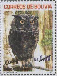 Filatelia: Aves de los Departamentos Bolivianos (2): Pulsatrix perspicillata