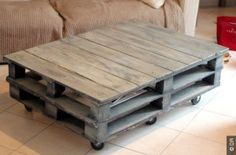 pallet coffee table on wheels - Interior Decoration Accessories coffee tables Pallet Furniture Cushions, Wooden Pallet Furniture, Pallet Sofa, Wooden Pallets, Table Furniture, Pallet Tables, Outdoor Furniture, Palette Coffee Tables, Palette Table