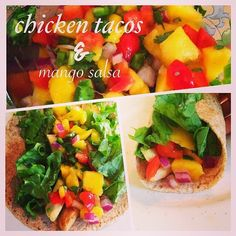 chicken tacos with Mango salsa My Recipes, Healthy Recipes, Recipe 21, Mango Salsa, Healthy Food Choices, Chicken Tacos, 21 Day Fix, Egg Whites, Daily Motivation