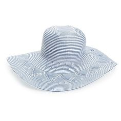 Hinge Zigzag Woven Sun Hat ($48) ❤ liked on Polyvore featuring accessories, hats, blue combo, braided hat, summer hats, paper braid hat, beach hat and beach sun hat