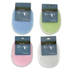 """Soap Saver Pouch/Loofah Body Scrubber Polisher - Assorted Colors by OTC. $3.25. The hanging cord loops through a smaller cord to pull pouch closed.. Net side allows your soap to air dry when hung.. Features one side of net and the other of scrubby loofah material.. Assorted Colors. One soap saver per order.. ONE soap saver per order. Each pouch measures 5"""" long x 4.5"""" wide.. This unique Soap Saver creates rich suds when you place the soap in the pouch and lather up. The net c..."""