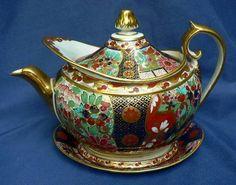 Antique English Georgian Barr Flight Worcester Imari Porcelain Teapot Stand