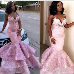 New 2018 Plus Size Mermaid Prom Dresses Lace Appliques Beads Squines Spaghetti Tiered Skirts Luxury Evening Dresses Party Wear Custom Made Overskirt Evening Dress Yousef Aljasmi Occasion Prom Dress On Cheap Short Prom Dresses, Mermaid Prom Dresses Lace, Senior Prom Dresses, African Prom Dresses, Prom Girl Dresses, Unique Prom Dresses, Beautiful Prom Dresses, Prom Dresses Online, Party Dresses For Women