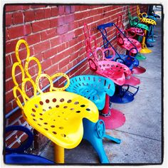 Tractor seat stools ,would be so cool as patio seats.