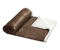 Plaid en fibra sintética, marrón y beige - 130x170 cm