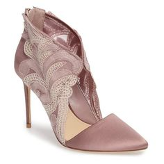 Women's Imagine By Vince Camuto Obin Lace Detailed Pointy Toe Pump ($70) ❤ liked on Polyvore featuring shoes, pumps, heels, vintage rose satin, satin pumps, heel pump, evening pumps, high heel stilettos and pointy toe stilettos