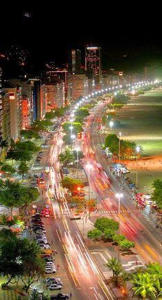Copacabana at night, Rio de Janeiro, Brazil 20 takes off #airbnb #airbnbcoupon #riodejaneiro #copacabana #beaches #travel #ilhagrande #brazil #carnival #olympics