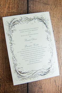This Vintage Shine invitation with thermography (raised ink) printing is winter without the usual snowflake theme. The mixed foils and shimmer paper lend an elegant feel to your winter wedding. Shop Now Vintage Shine