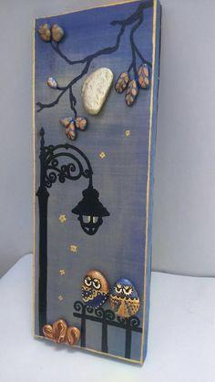 Unique pebble art gift for couple owl pebble by StefArtStone