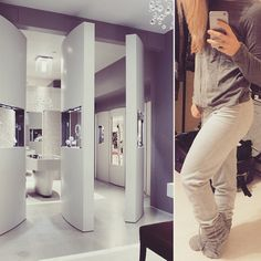 Today's #outfit - all #gray #comfy #clothes from #cubus. Today's #interior - a #displayed #bathroom #design with #180 turn #doors as #wall #dividers. The #ceiling, #wall, & #floor goes in a #color scheme of #50shadesofgrey #white #decor & #beautiful display #Windows. I do say #stuff I regret, but then I think back & say F it haha 3days  #inredning #style #enjoy interiorandfashion #architect #looks  #fashion #details #interiorarchitecture