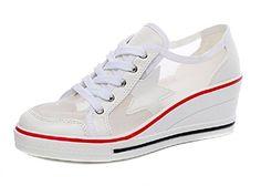 JiYe Pump Shoes Women's Canvas High-Heeled Shoes Wedge Shoes,Fashion Sneakers,White,7.5US-Women – HeelCity.com